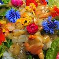 野郎飯流・青柳と小柱 キウイ、エディブルフラワーのサラダ仕立て