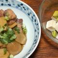 豚肉と里芋の煮物とアボカド豆腐