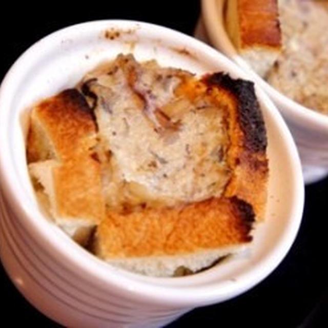 食パンで簡単、豆腐とキノコのパンdeキッシュとアップル・オニオンドレッシングのサラダ