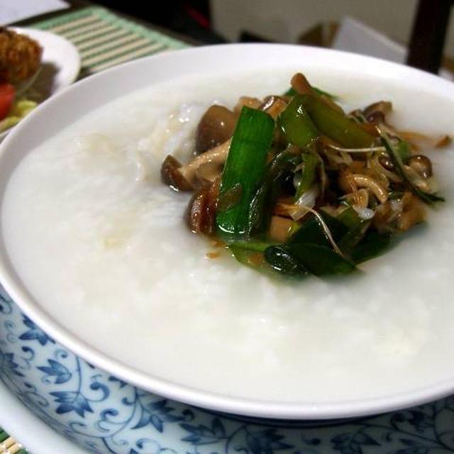 ニラとしめじの甘酢生姜炒めの中華粥