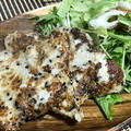 おうちでご飯☆ムキサメのゴマ衣焼き&ポテサラ。