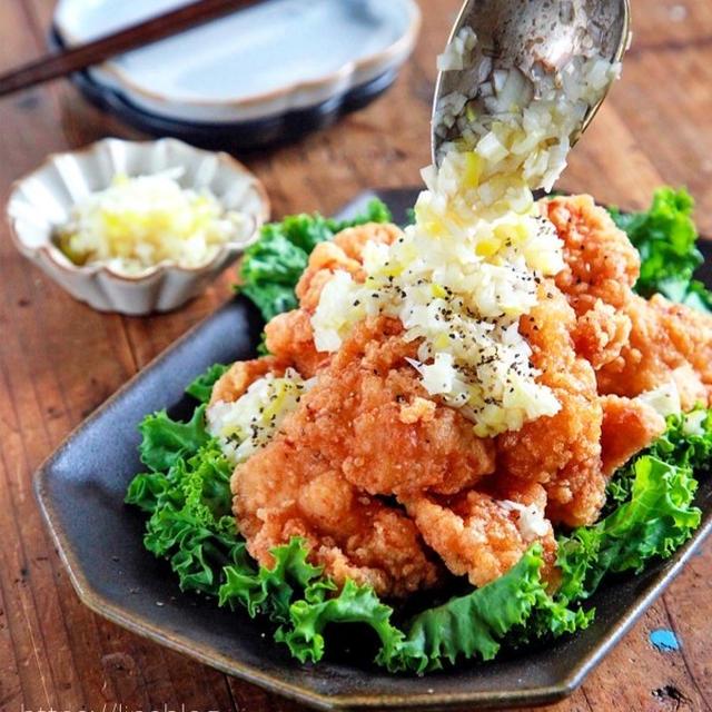 ♡鶏むね肉の唐揚げ♡ねぎ塩レモンだれ♡【#簡単レシピ#時短#節約#揚げない】