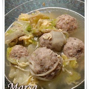 2017.01.19 鶏&豚挽肉で柔らか美味~♡肉団子スープ
