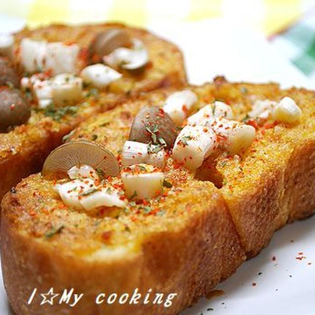 カルディ「ぬって焼いたらカレーパン」でキノコチーズバゲット