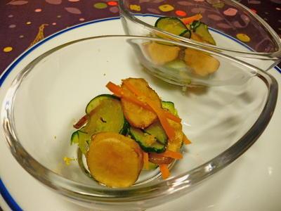 キクイモの酢漬けと胡瓜の和え物
