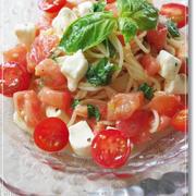 バジルとトマトの冷製パスタ♪(クリームチーズ入り)