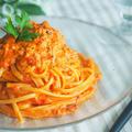 家で簡単にお店の味!カニ缶で作る☆濃厚トマトクリームパスタ