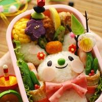 【デコおにレシピ】アジシオde あけおめ2010 鏡餅風ウサギちゃんのお弁当