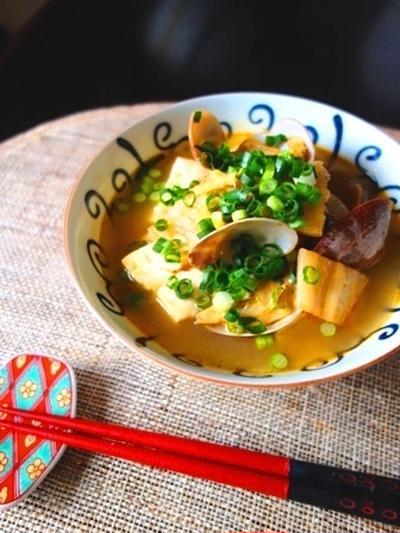 キムチで簡単☆あさりと豆腐の味噌チゲスープ【#5分 #簡単 #ヘルシー】