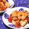 シーフードとミニトマトのガパオ炒め