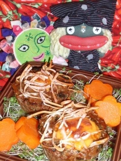 チーズ入り甘味噌セロリ焼売風&ゴーヤのおかかサラダ(お家カフェ)