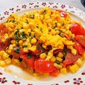 【トマトとトウモロコシと卵の塩炒め】塩は小さじ1/4で4人分の味付け♪朝ごはんにもいいね。