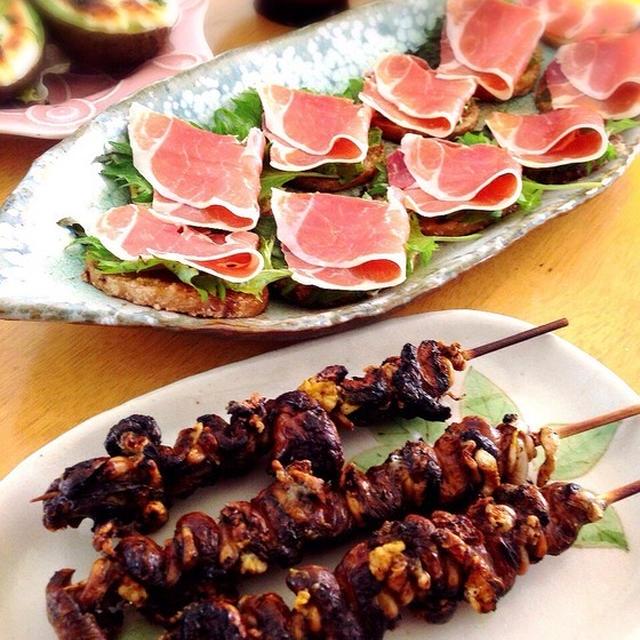 鰻の肝と長芋ステーキの生ハムのせ。アボカドエッグ。牛蒡のニンニク醤油揚げ。