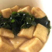 揚げ高野豆腐と新物わかめの白だしさっと煮♪