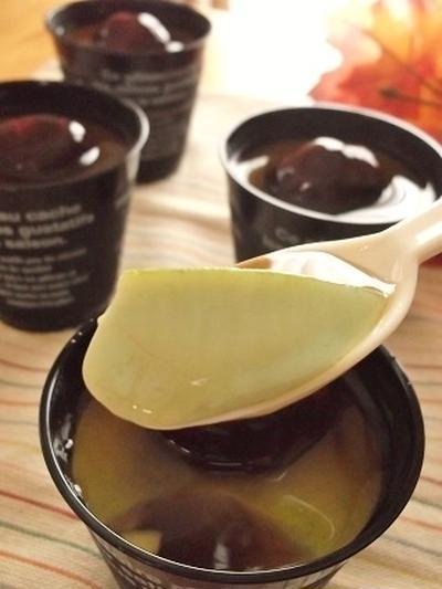混ぜて冷やすだけ~とろける抹茶ラテプリンに渋皮煮とみたらしあんプラス♪