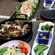 ◆茸とパンチェッタのアヒージョと煮豚でおうちごはん♪