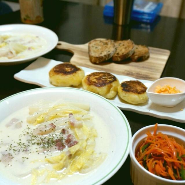 昨日の夕ご飯☆白菜シチュー・人参とピーマンの和え物【アンチョビドレッシングざっくりレシピ付き】