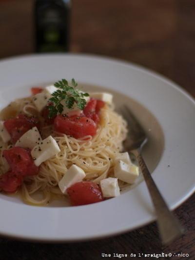 完熟トマトの冷製カッペリーニ。