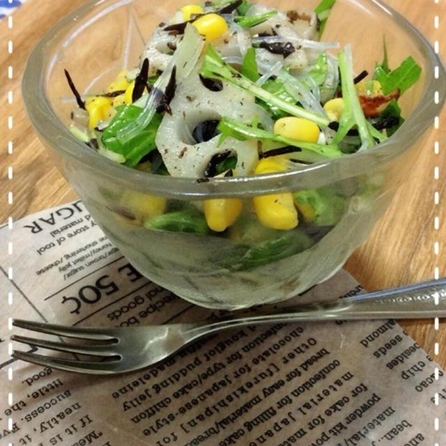 【白だし✖️ごま油】ひじきとレンコンのシャッキリサラダで夕ご飯