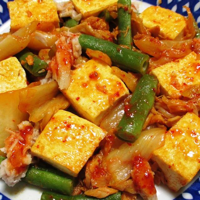 ツナと豆腐のキムチ炒め<簡単、時短、ヘルシー>