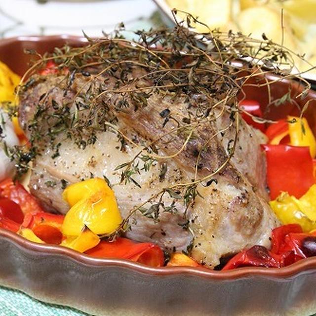 塩漬け豚のロースト と ローズマリーポテト と アボカドと豆腐のスープ