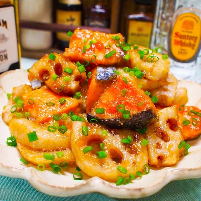 【レシピ】鮭とれんこんの♡めんつゆバター炒め♡