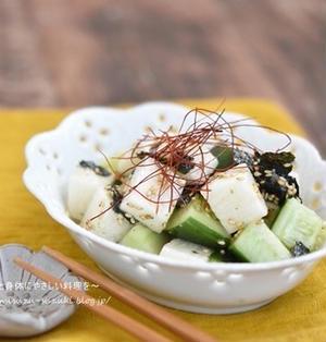 夏バテ予防にオススメ!!火を使わない5分料理。きゅうりと長芋の韓国風さっぱりサラダ