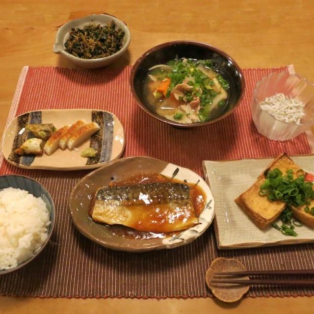 鯖のおろし煮 & 豚汁 和の晩ご飯