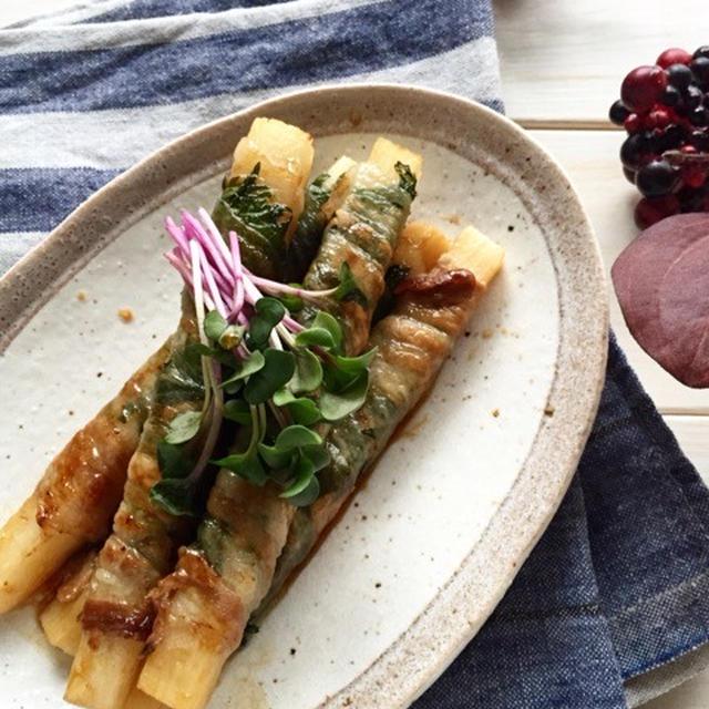 【ポン酢だれで*長芋と大葉の肉巻き】簡単*お弁当