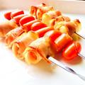 さけるチーズとミニトマトのベーコン巻き de 串さしグリル♡