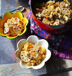 レンコンと鶏の爽やかぽん酢味炊き込みご飯