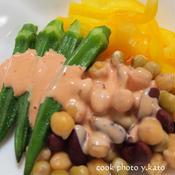 オクラと豆のピリ辛マヨネーズ
