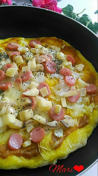 フライパンで♪簡単美味!スパイシー☆カレーピザ