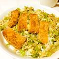 広島のがんすと広島菜と白菜の卵とじ丼♡