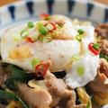 落とし卵(ポーチドエッグ)の作り方 、 にら豚丼