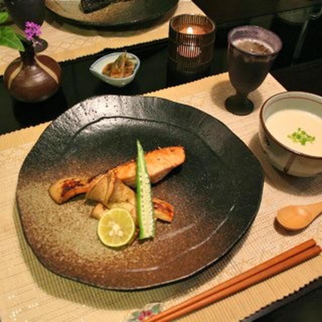 秋鮭の柚子こしょう焼き&豆腐入りじゃがいものポタージュ