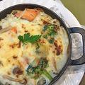 イソフラボンたっぷりの豆乳で秋鮭・ブロッコリーのドリア~シフォン生地苺ロールケーキ