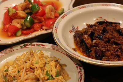 レシピ付き献立 四川風なす炒め・えびとトマト、キュウリの甘酢炒め・卵ともやしの炒め物