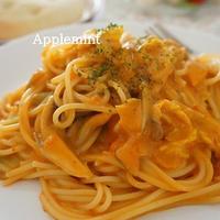 白菜ときのこのトマトクリームスパゲティ&かぼちゃのマフィン