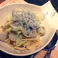 ☆海老芋とキャベツの豆乳カルボナーラ☆