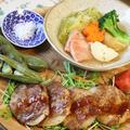 新たまねぎの豚肉巻き焼き と 春キャベツのポトフ。ワンプレート。