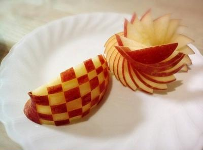 リンゴの飾り切り 市松模様
