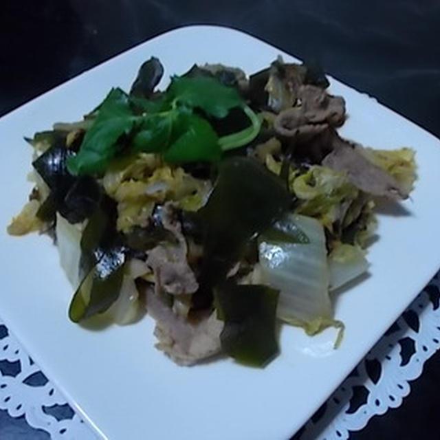 若布と干し白菜、豚肉のガーリック炒め
