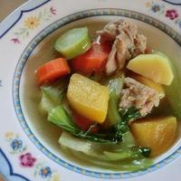 鶏肉とチンゲン菜、たっぷり野菜のスープ