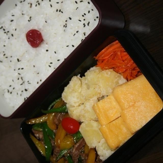 8月8日  牛肉と ピーマンの炒めもの弁当(練習)