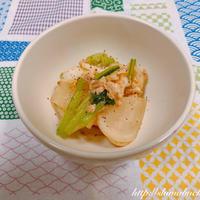 ヒガシマル 牡蠣だし醤油を使って、蕪とツナの牡蠣だし醤油炒め