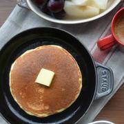 ストウブで「ホットケーキの朝ごはん」