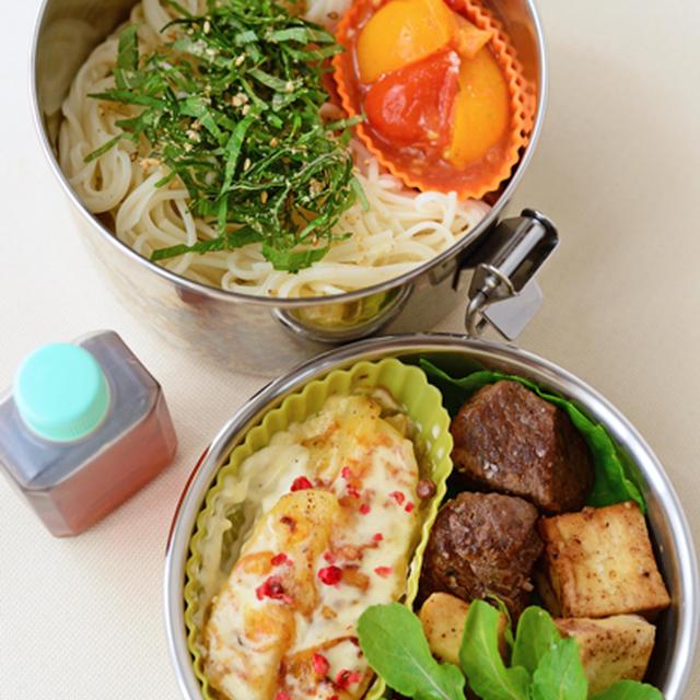 7月4日 土曜日 トマトと青紫蘇のサラダそうめん&宮崎牛と高野豆腐のサイコロステーキ