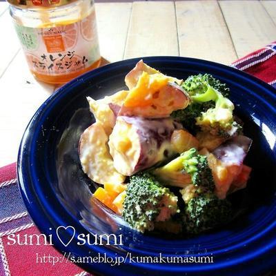 オレンジスライスジャムのヨーグルトマヨ♥春サラダ♥