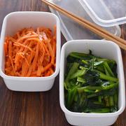 野菜の作り置き2種。【にんじんのおかかサラダ・小松菜のカレー炒め】